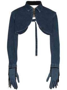 Diesel Red Tag джинсовая куртка-болеро с бахромой и перчатки