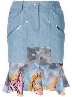 Christian Dior Vintage джинсовая юбка с оборками