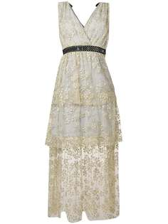 Self-Portrait сетчатое платье миди с цветочной вышивкой