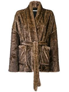 Mes Demoiselles пушистое пальто в стилистике халата