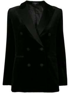 Theory двубортный пиджак-смокинг