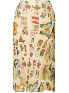Christian Dior Vintage двухслойная юбка с принтом