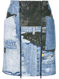 Christian Dior Vintage джинсовая мини-юбка с принтом