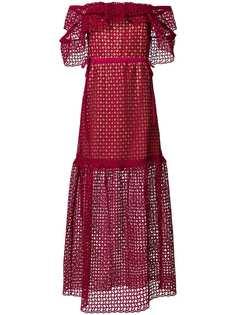 Self-Portrait ажурное платье с открытыми плечами