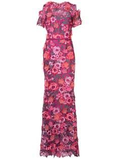 Marchesa Notte кружевное платье с цветочной 3D-отделкой