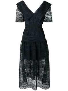 Self-Portrait удлиненное платье с кружевом