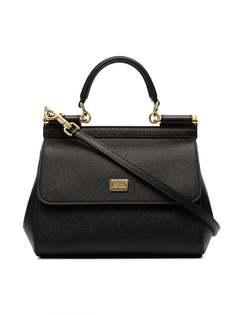 Dolce & Gabbana black sicily small leather bag