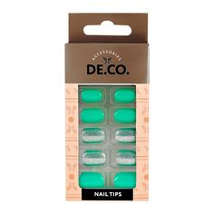 Набор накладных ногтей DE.CO. SPARKLE turquoise 24 шт + клеевые стикеры 24 шт Deco