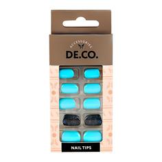 Набор накладных ногтей DE.CO. SPARKLE azure 24 шт + клеевые стикеры 24 шт Deco