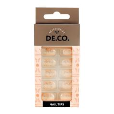 Набор накладных ногтей DE.CO. SPARKLE gold 24 шт + клеевые стикеры 24 шт Deco