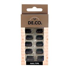 Набор накладных ногтей DE.CO. SPARKLE onyx 24 шт + клеевые стикеры 24 шт Deco