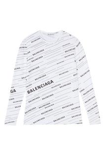 Белый лонгслив с логотипами Balenciaga