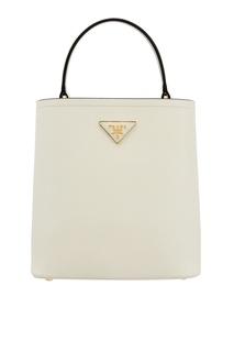 Белая кожаная сумка Panier Prada