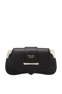 Черная кожаная сумка с клапаном Prada