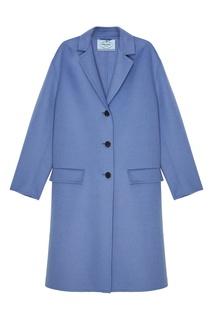 Голубое шерстяное пальто Prada