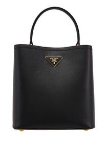Черная кожаная сумка Panier Prada