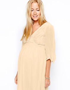 Кружевное платье для беременных с запахом Little Mistress - Кремовый