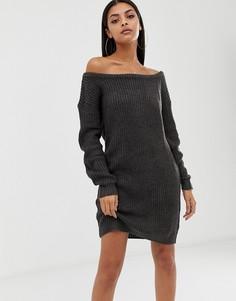 Вязаное платье-джемпер с открытыми плечами Missguided - Серый
