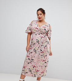 Розовое платье миди с открытыми плечами и цветочным принтом Lovedrobe - Мульти