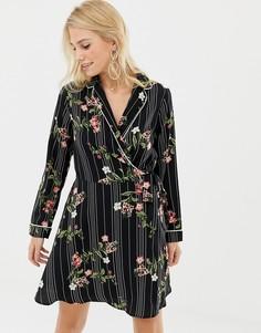 Платье с запахом и цветочным принтом Liquorish - Черный