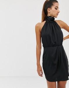 Черное атласное платье мини с халтером и сборками Missguided - Черный