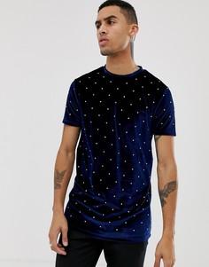 Длинная велюровая футболка с отделкой камнями ASOS DESIGN - Темно-синий