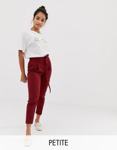 Бордовые брюки с поясом New Look Petite - Красный