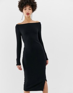 Черное облегающее платье с открытыми плечами и кнопками River Island - Черный