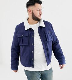 Куртка из искусственной замши с воротником борг Another Influence PLUS - Темно-синий
