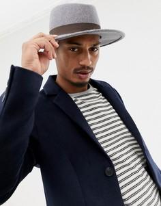 Серая меланжевая шляпа с лентой ASOS DESIGN - Серый