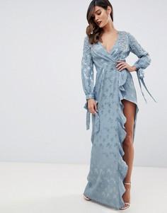 Атласное платье макси с декоративной отделкой ASOS DESIGN - Синий