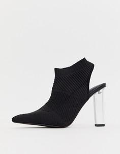 Туфли на высоком каблуке с трикотажным верхом ASOS DESIGN Posey - Черный