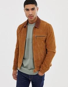 Светло-коричневая замшевая куртка на сквозной молнии ASOS DESIGN - Рыжий