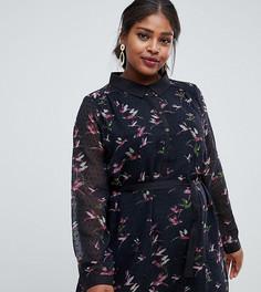 Платье-рубашка с принтом Yumi Plus - Черный