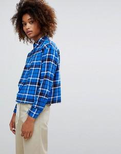 Синяя укороченная рубашка в клетку ASOS DESIGN - Мульти