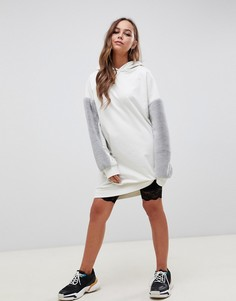 Платье-худи с меховыми рукавами ASOS DESIGN - Серый