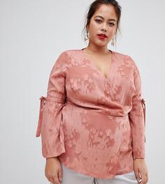 Розовая блузка с запахом Lovedrobe - Красный