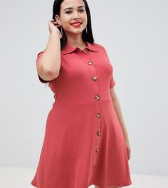 Платье-поло мини с большими пуговицами под слоновую кость ASOS DESIGN Curve - Розовый