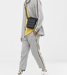 Свободные брюки в клетку с полосками по бокам Milk It Vintage - Серый