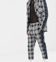 Свободные брюки в клетку с контрастными полосками по бокам Milk It Vintage - Черный