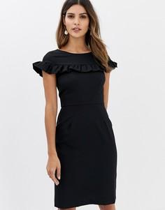 Платье-футляр с оборкой Closet - Черный