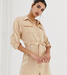 Атласное платье-рубашка кремового цвета с поясом Missguided - Коричневый