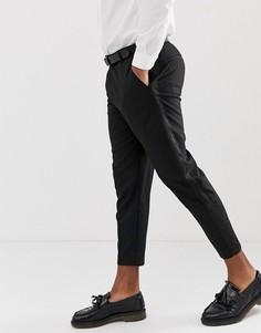Черные строгие брюки с полосками по бокам Bershka - Черный