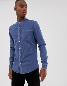 Эластичная приталенная джинсовая рубашка с воротником-стойкой ASOS DESIGN - Синий