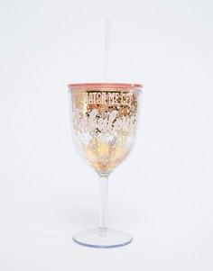 Пластиковый бокал с золотистыми блестками и надписью fabulous Sass & Belle - Мульти
