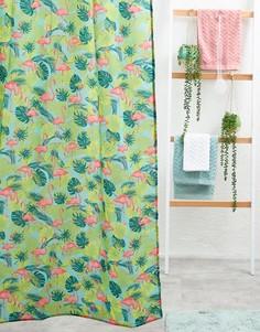 Занавеска для ванной с принтом фламинго Kitsch Kitchen - Мульти