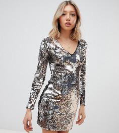 Платье с пайетками и V-образным вырезом Parisian Petite - Золотой