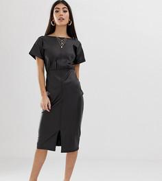 Платье-футляр миди из искусственной кожи ASOS DESIGN Petite - Черный