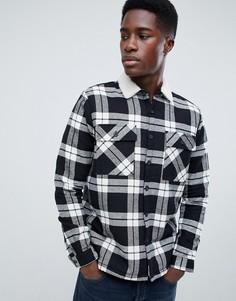 b0c44457a06 Черная рубашка в клетку классического кроя с подкладкой из искусственного  меха New Look - Черный