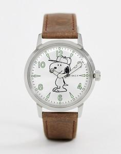 Часы с коричневым кожаным ремешком Timex x Snoopy Welton 40 мм - Коричневый